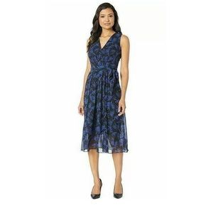 New Anne Klein a-line navy blue v-neck dress